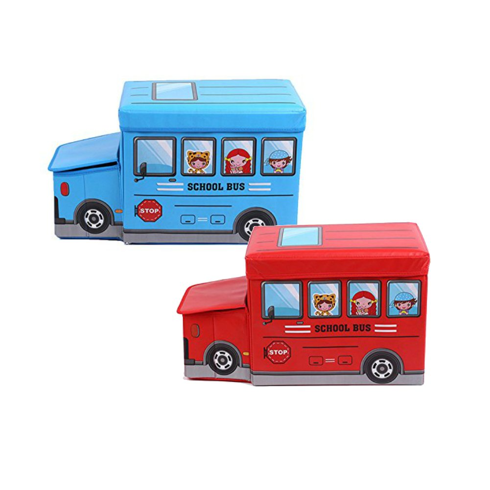 Palasyo School Bus Collapsible Childrens Toy and Closet Organizer Storage Box (Red and Blue)