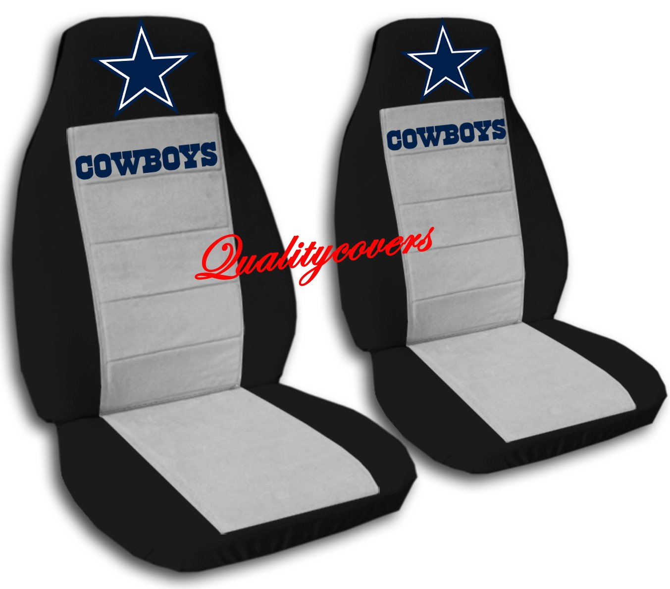2 Black and Silver Cowboy Seat Covers 2006 Mitsubishi Montero Side Airbag Friendly by Designcovers (Image #1)