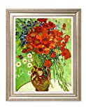 DecorArts- Red Poppies And Daisies, Vincent Van Gogh Art Reproduction. Giclee Print& Museum Quality Framed Art. 24x30'', Outside Size: 30x36''