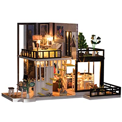 CONTINUELOVE Miniature Doll House with Furniture - Led Lights and Dust Cover - DIY Wooden Toy House Kit - Best Toys and Home Decoration (K033): Toys & Games
