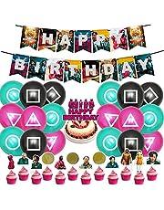 Inktvis Game Decor Verjaardagsfeestartikelen bevat Banner - Cake Topper - 12 Cupcake Toppers - 18 Ballonnen voor Meisje