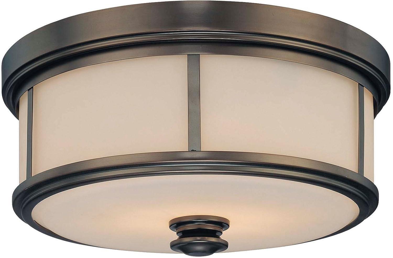 Minka Lavery Flush Mount Ceiling Light 4365-281, Havard Ct. Glass Fixture, 2 Light, 120 Watts Halogen, Bronze