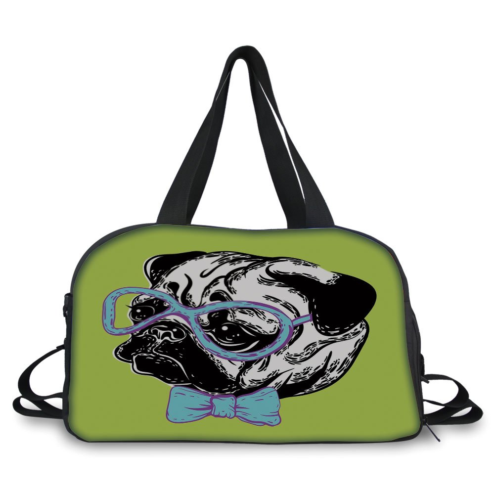 iPrint Travelling bag,Pug,Cute Dog with a Bow Tie and Nerdy Glasses on Yellow Backdrop Funny Comic Image Decorative,Yellow Blue Black ,Personalized
