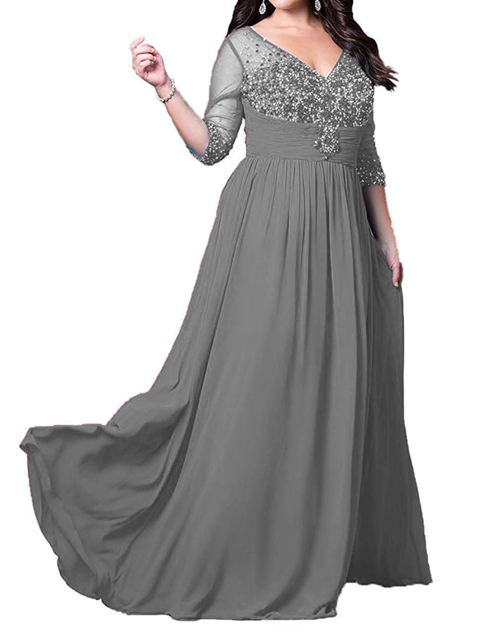 Mother of The Bride Dresses Plus Size Long Formal Evening Gown with Sleeves  Chiffon Beaded Grey US 24W