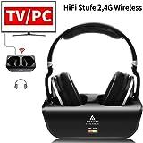 Artiste adh300Wireless TV Auriculares, 2.4GHz UHF/RF Over-Ear Auriculares estéreo Digital para TV, 100ft Distancia emisor Recargables Carga