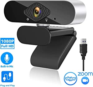 Webcam with Microphone, Computer Camera,1080HD Web Camera USB 2.0 Plug & Play with 360°Rotating,Streaming Webcam for Laptop Desktop,for YouTube Skype Live Video Conferencing