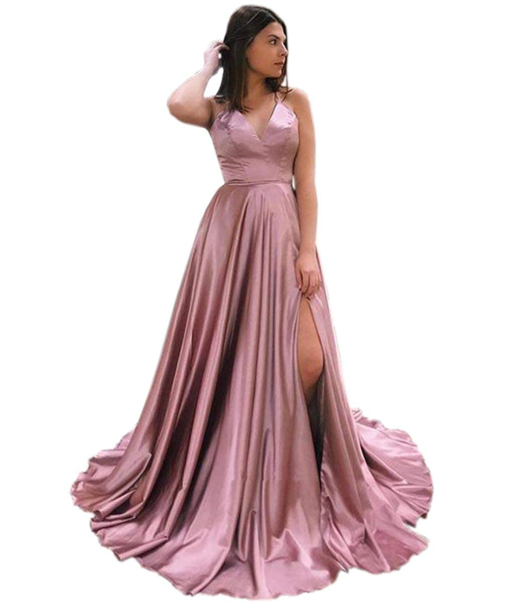 bluesh Pink Mauwey Halter Neck Satin Prom Dress Split with Pockets Evening Gown Long Maxi for Women Formal