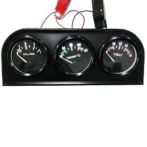 KKmoon 52mm 3 en 1 Auto Moto Compteur électronique Kit de Jauge de Pression d'huile Température de l'eau Jauge Voltmètre