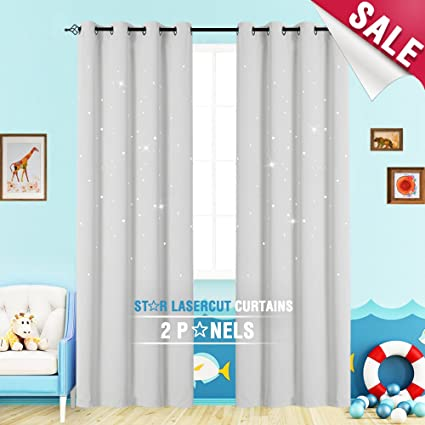 Nursery Curtains Kids Room Darkening Window Curtains For Bedroom 84 Inches  Long Twinkle Star White Draperies