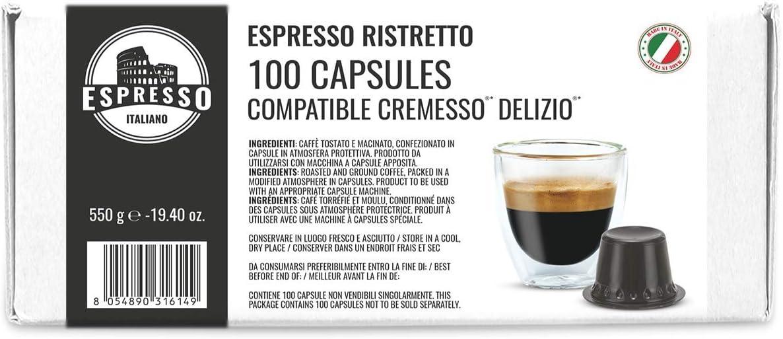 100 Cápsulas Cremesso® Delizio® Compatibles Café Ristretto: Amazon ...