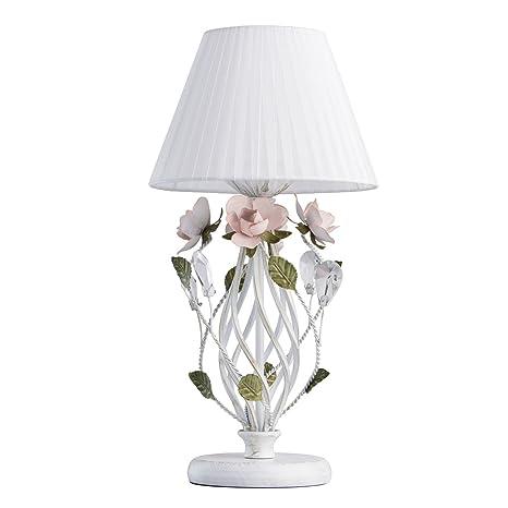 MW-Light 421034801 Lámpara de Mesa y Mesilla de Noche, Floral, Elegante, Color Dorado, Rosa, Verde, Pantalla Tela, Tela Blanca, Para Salón, ...