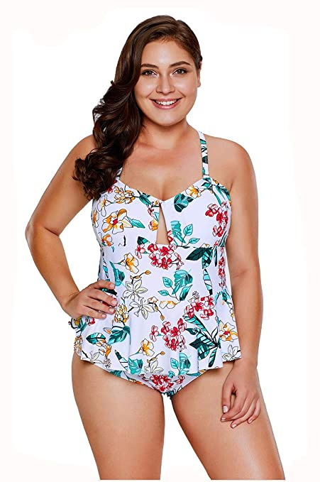 0c3efedb8 J.S.U Fashion Plus Size Swimsuits for Women Ruffled Hollows with Printed  Patterns Decorations High Waist Backless One-Piece Sexy Bikini