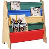 Yescom Wooden Kids Book Shelf Sling Storage Rack Organizer Bookcase Display Holder Nursery Room Natural