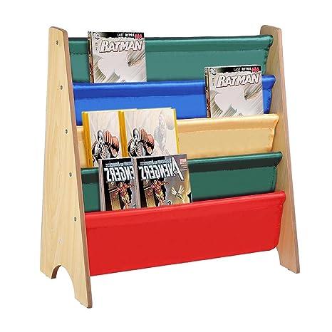 MOONBUY Kids Sling Bookshelf Wooden Book Display Rack Childrens Holder Natural