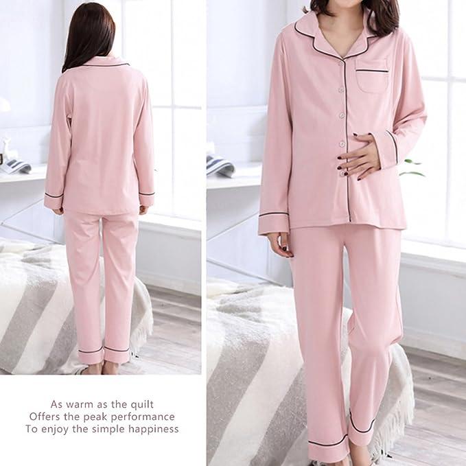 Samber 2 Piezas de Pijamas para Mujer Premamá Ropa de Lactancia y Maternidad Pijamas Otoño e Invierno: Amazon.es: Ropa y accesorios