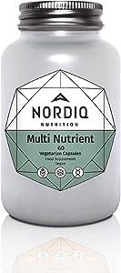 NORDIQ Nutrition Multi Nutrient Vitamin Capsules, All Natural Vegan and Organic 60CT