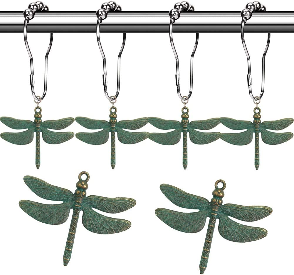 Aimoye Dragonfly Bathroom Shower Curtain Hooks Rust Proof Brushed Nickel Rings With Dragonfly Pendant Accessories Set Decorate Bath Room With Natural Forest Garden Country Theme 12pcs Green Home Kitchen