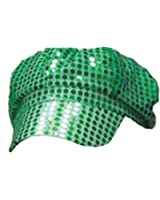 Women's Green Sequined Newsboy Cabbie Costume Hat