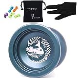 MAGICYOYO ®yoyo boule N12 Shark Honor En Alliage d'aluminium yoyo professionnel freestyle Jouet Educatifs de Plein Air + 5 Cordes + Gant + Sac Cadeau Présent pour les enfants les garçons les filles (Bleu foncé avec Blanc)