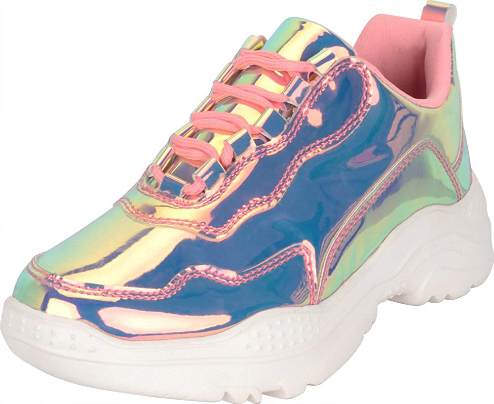 pink Pink Hologram Cambridge Select Women's 90s Ugly Dad Iridescent Holographic Lace-Up Chunky Fashion Sneaker