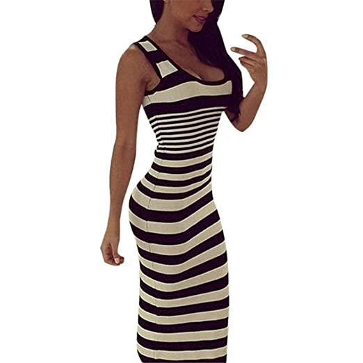 e870c681fa Amazon.com  KMG Striped Long Dress