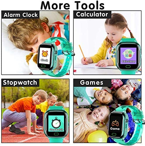 iGeeKid Kids Smart Watch Phone-IP67 Waterproof Smartwatch Boys Girls Toddler Digital Wrist Watch 1.44'' Full Touch,Calls,Camera,Gizmos Games,Alarm,12/24 Hr Learning Toys Kids Valentines Gifts (Green)