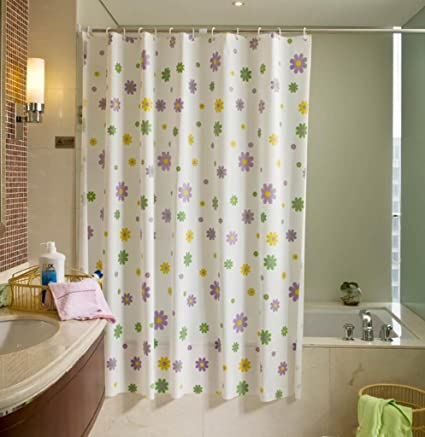 Image Unavailable Not Available For Color Purple Green Yellow Flower PEVA White Shower Curtain