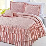 Home Soft Things Serenta 4 Piece Matte Satin Ruffle Quilted Bedspread Set, King, Pink