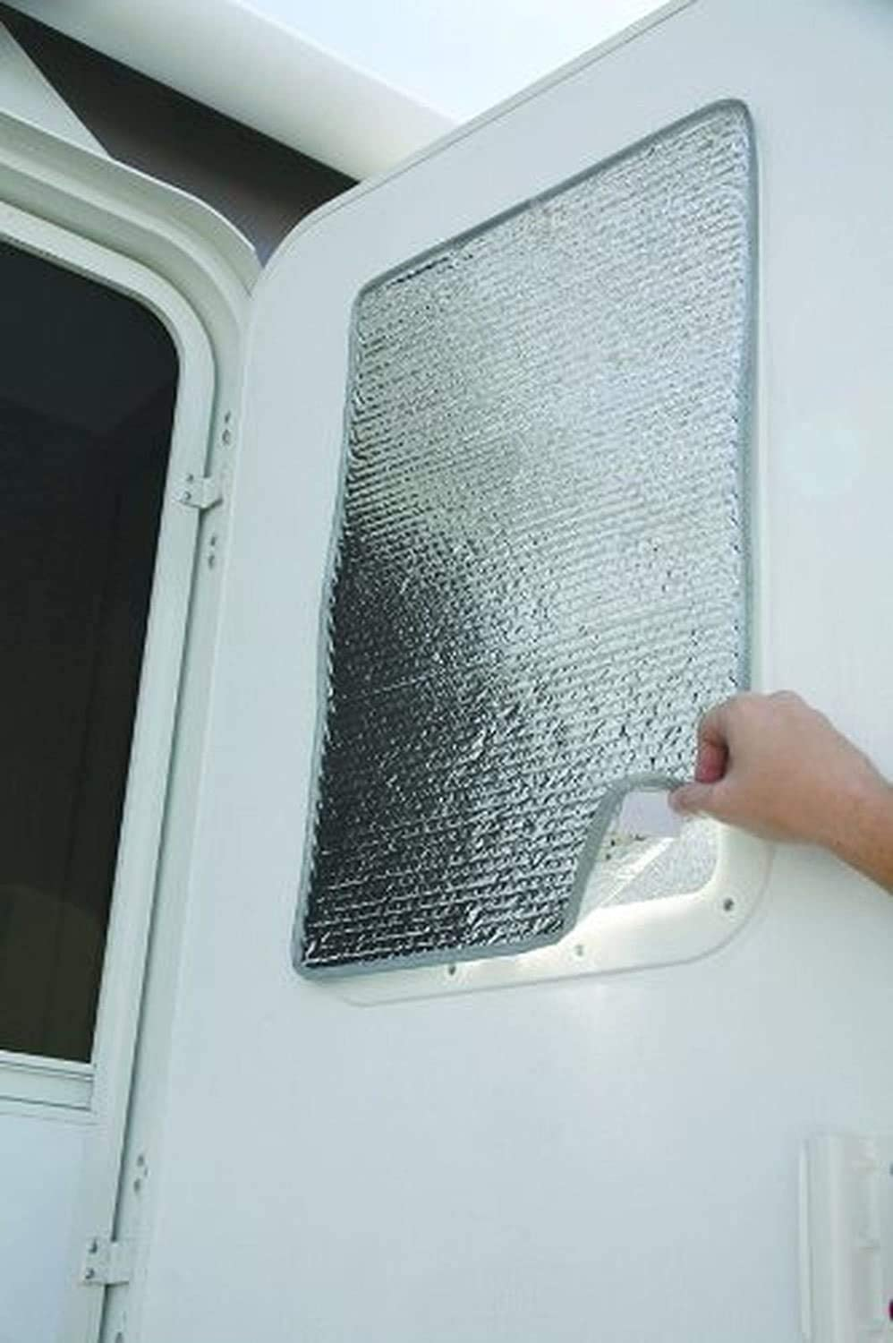 RV Door Window Cover Shade - Double-Sided 16 x 25 - Travel Trailer Reflective RV Window Shade Regulates Temperature - RV Window Coverings Protect Your RV from UV Rays - Easy to Install Sun Shade