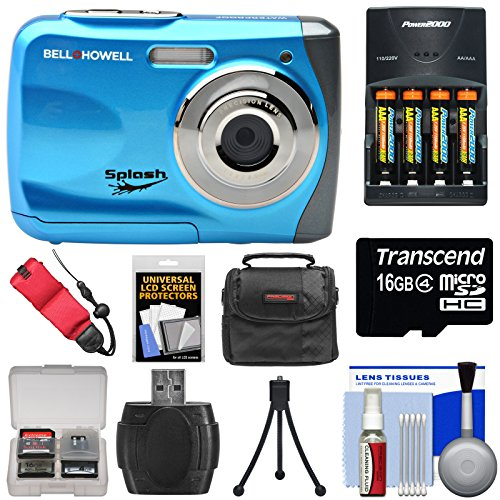 Bell & Howell Splash WP7 Waterproof Digital Camera (Blue) with Batteries & Charger + 16GB Card + Case + Kit by Bell + Howell