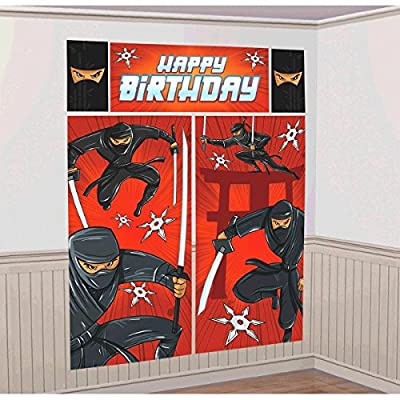 "amscan Action Packed Ninja Scene Setters Wall Decorating Kit, Red/Black, 59"" x 65"": Toys & Games"
