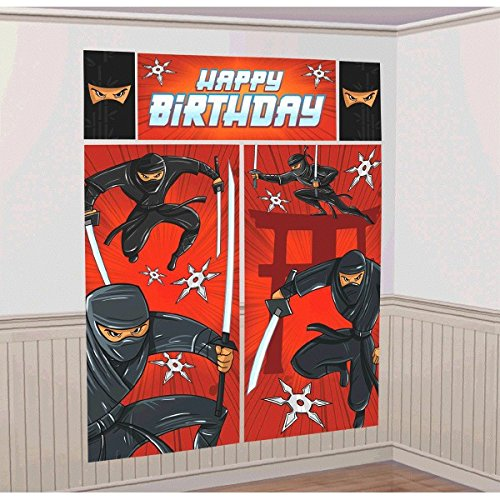 amscan Action Packed Ninja Scene Setters Wall Decorating Kit, Red/Black, 59