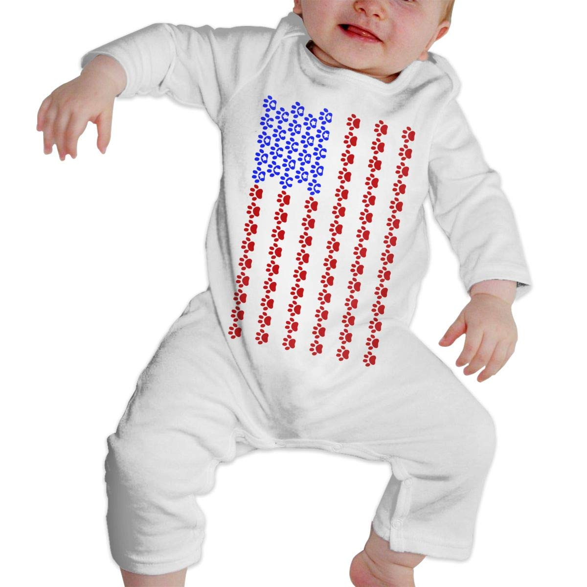 Paw Print US Flag Toddler Baby Girls Soft /& Breathable Pajamas Sleeper