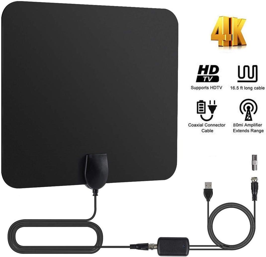 YOMYM Antena de TV Interior, Potente Antena Compatible con Smart TV HD 4K 1080P VHF UHF FM,Amplificador TNT Radius HDTV de 4 m Cable