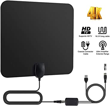 YOMYM Antena de TV Interior, Potente Antena Compatible con Smart TV HD 4K 1080P VHF UHF FM,Amplificador TNT Radius HDTV de 4 m Cable: Amazon.es: Electrónica