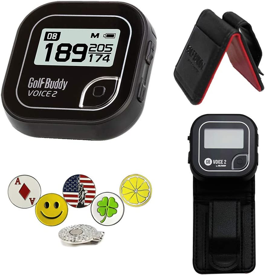 GolfBuddy Voice 2 Golf GPS/Rangefinder Bundle with 1 Magnetic Hat Clip and 5 Ball Markers and Belt Clip (Black)