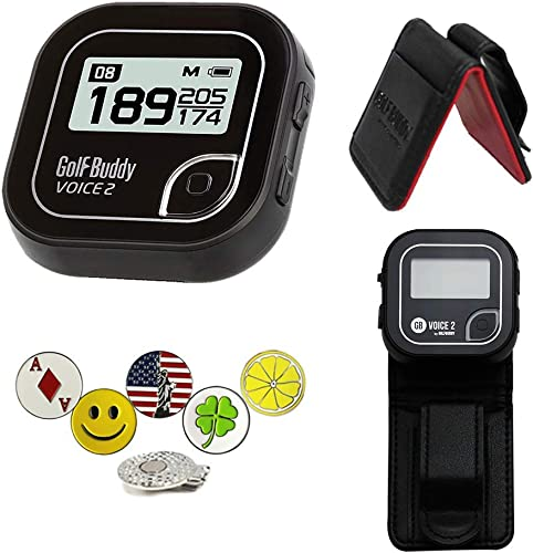 Golf Buddy Voice 2 Golf GPS Rangefinder Bundle with Belt Clip, 5 Ball Markers and 1 Hat Magnetic Clip, Black