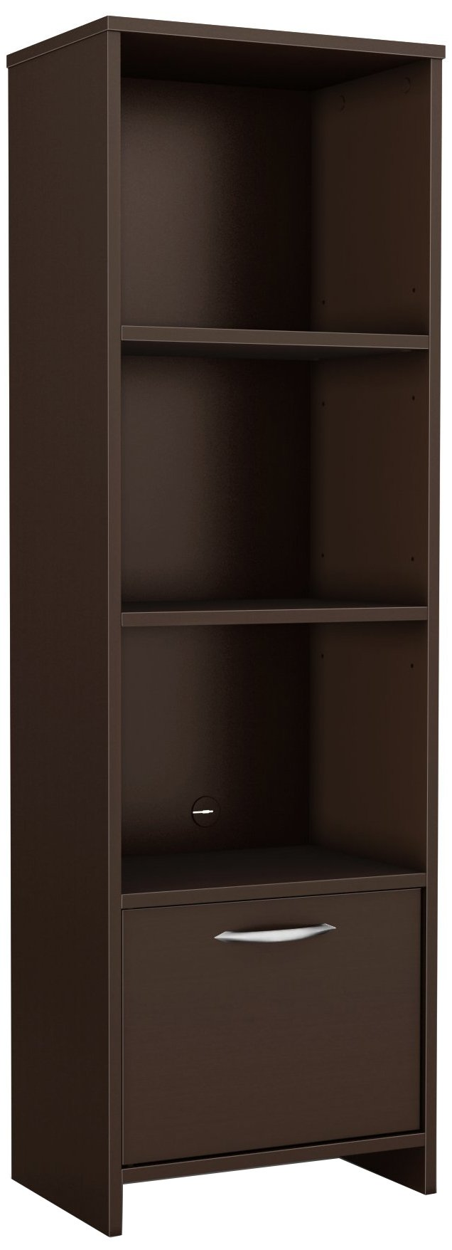 South Shore Narrow 3-Shelf Storage Bookcase with Door, Chocolate