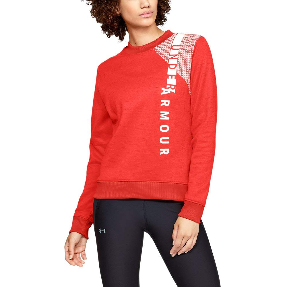 Under Armour Women's Synthetic Fleece Crew Word Mark, After Burn (877)/White, Small