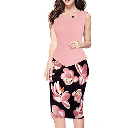 pqdaysun Women's Floral Print Sleeveless Midi Bodycon Business Pencil Dress