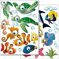 Adhesivos de pared de Wandkings Juego de pegatinas Underwater Ocean World: más de 25 pegatinas en 2 hojas de cartas de EE. UU. (Cada una de 8,3 x 11,7 pulgadas)