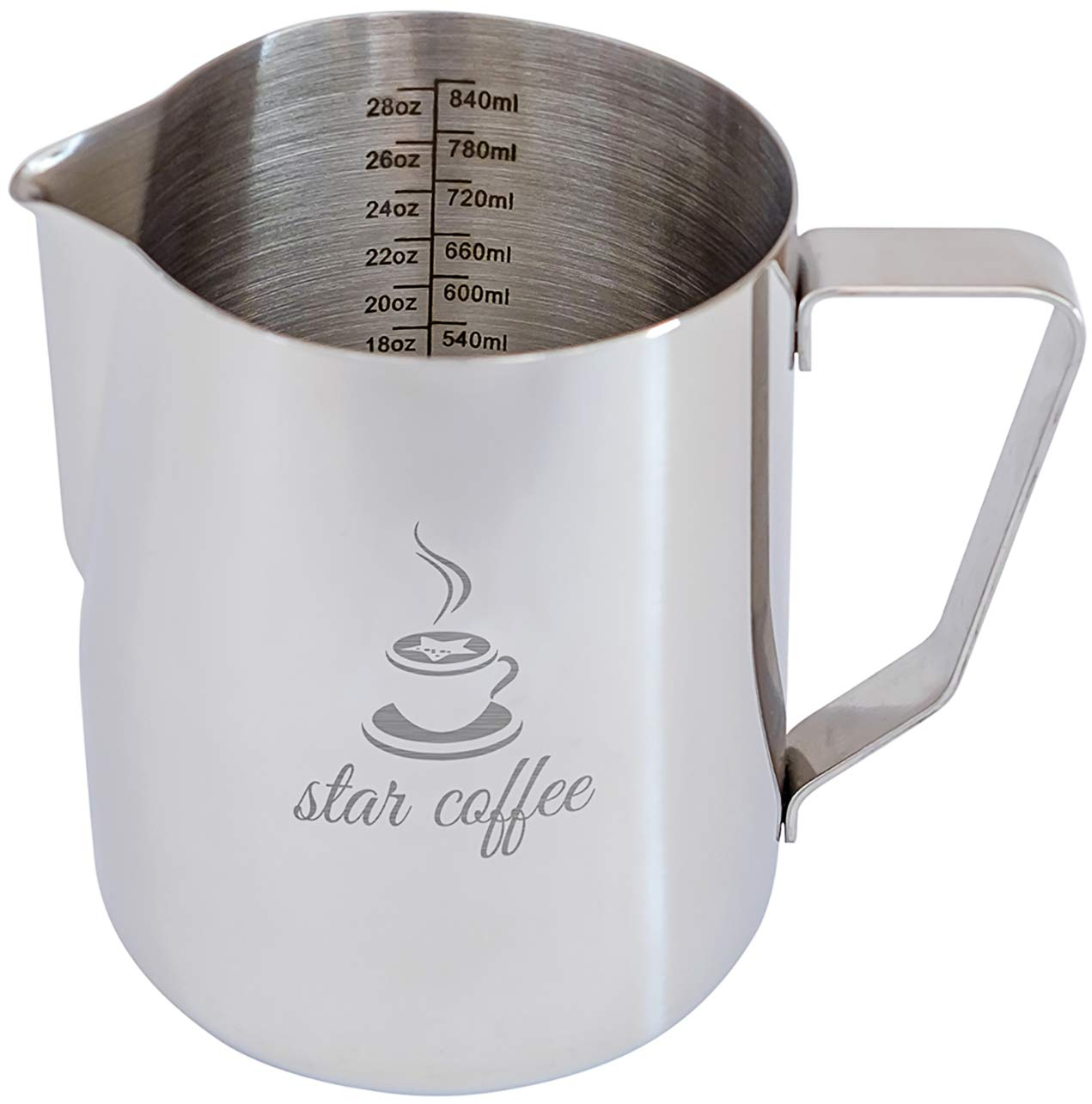Star Coffee 32, 20 or 12oz Stainless Steel Milk Frothing Pitcher - Measurements on Both Sides Inside Plus eBook & Microfiber Cloth - Perfect for Espresso Machines, Milk Frothers, Latte Art