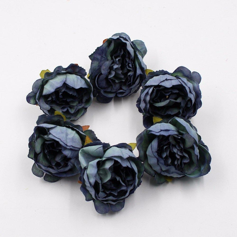 花15pcs/ロット5 cm牡丹ヘッドシルク人工ウェディングデコレーションDIYガーランドスクラップブックギフトボックス ブルー B07DD78G5Q ブルー