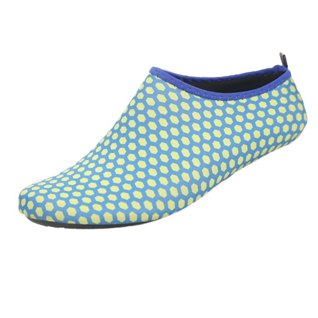 Inkach Water Sport Shoes - Unisex Quick Drying Barefoot Skin Aqua Socks Surf Diving Shoes (M(US:5.5-6), Dark Blue)