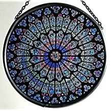 Decorative Hand Painted Stained Glass Window Sun Catcher/Roundel in a Notre Dame 'Rosace Nord' Design