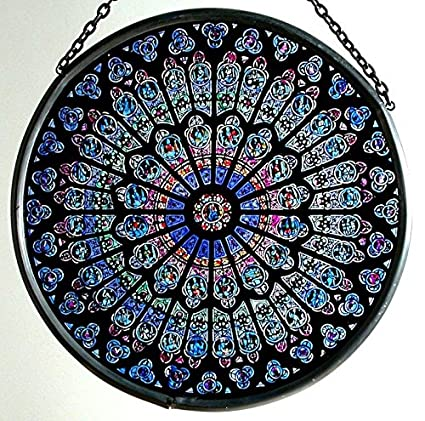 1207f4bf8a29 Amazon.com  Decorative Hand Painted Stained Glass Window Sun Catcher Roundel  in a Notre Dame  Rosace Nord  Design  Arts
