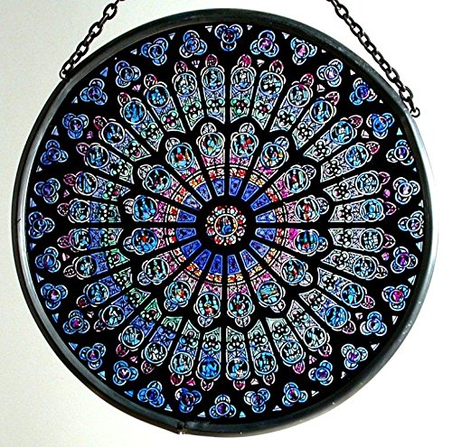 Decorative Hand Painted Stained Glass Window Sun Catcher/Roundel in a Notre Dame 'Rosace Nord' (Boxed Window Glass)