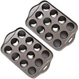 Tosnail 2 Pack 12 Cavity Mini Cheesecake Pan with Removable Bottom