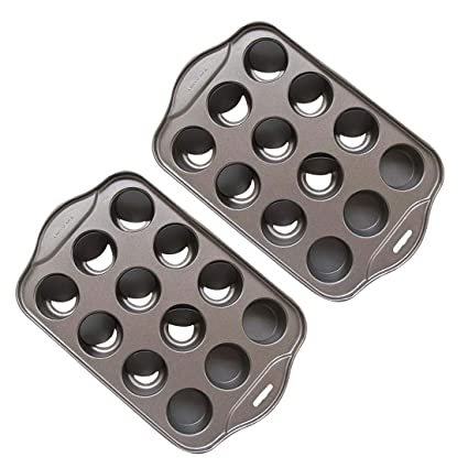 Amazon.com: Tosnail 2 Pack 12 Cavity Mini Cheesecake Pan with Removable Bottom: Kitchen & Dining