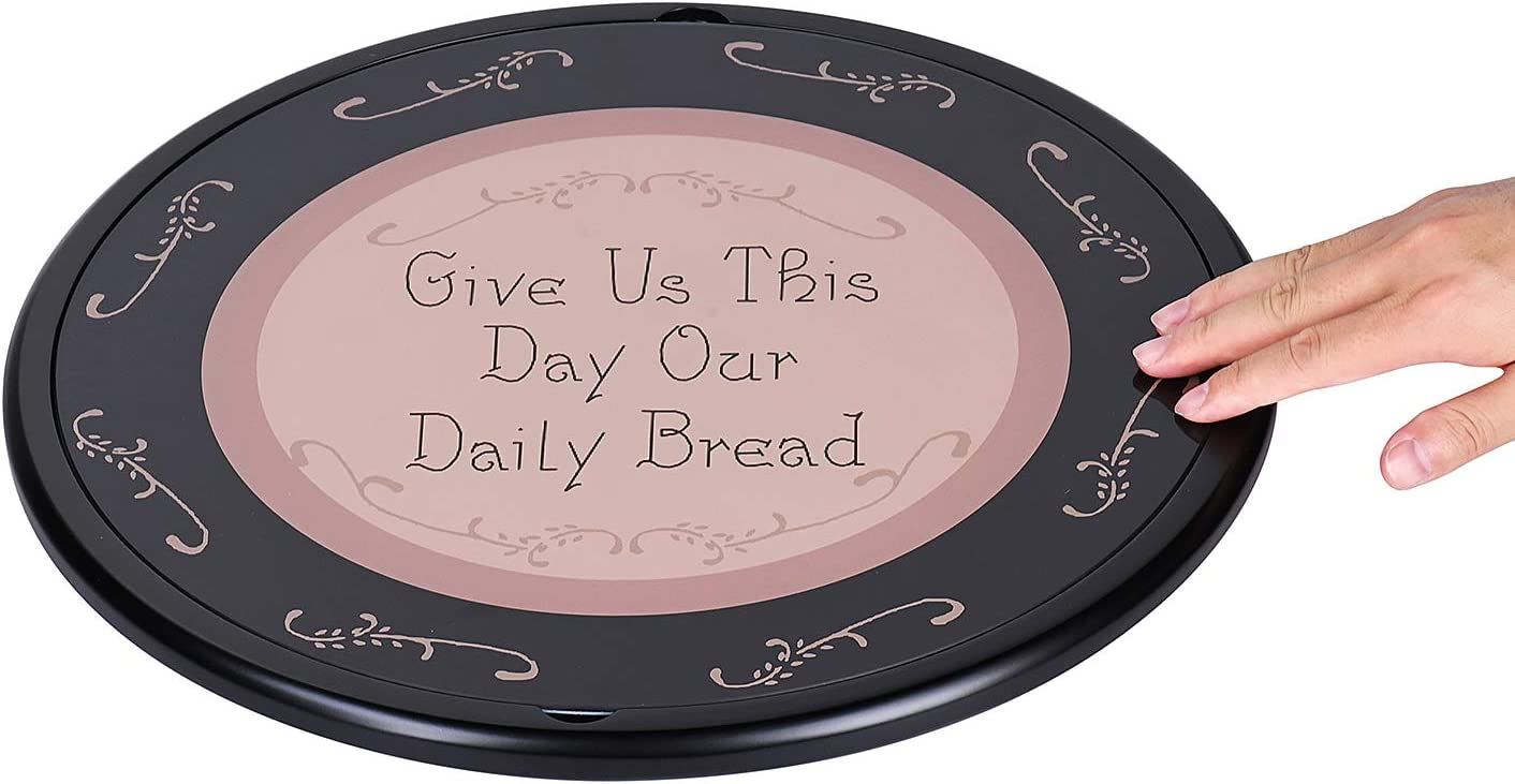 AF Andrew Family 15 Inch Wooden Lazy Susan and Personalized Glass Cutting Board Set Of 2, Initial C DAILY BREAD